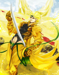 1boy adapted_costume armor blonde_hair claws dio_brando gauntlets headband highres jojo_no_kimyou_na_bouken leotard muu_(brnkhat) navel red_eyes solo sword the_world weapon