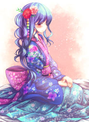 1girl alternate_costume blue_hair blush check_commentary commentary commentary_request date_pun floral_print flower formal frown furisode hair_flower hair_ornament highres hinanawi_tenshi japanese_clothes kimono long_hair looking_at_viewer number_pun obi red_eyes sad sash seiza sitting solo t.m_(aqua6233) touhou traditional_clothes very_long_hair