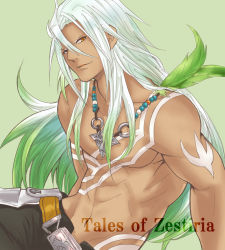 1boy belt brown_eyes copyright_name getfulness-0720 gradient_hair green_background green_hair jewelry long_hair male_focus multicolored_hair necklace shirtless smile solo tales_of_(series) tales_of_zestiria tan tattoo white_hair zavied_(tales)