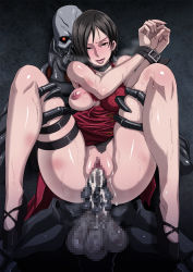 1girl ada_wong areolae black_eyes black_hair blush breasts censored cum cum_in_pussy dress eroquis feet high_heels highres large_breasts legs looking_at_viewer naughty_face nipples penis pussy resident_evil resident_evil_4 sex short_hair smile standing sweat thighs tied_up torn_clothes vaginal zombie