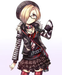 1girl belt blonde_hair blush brown_eyes choker earrings gagaga hair_over_one_eye hat idolmaster idolmaster_cinderella_girls jewelry looking_at_viewer open_mouth red_legwear shirasaka_koume short_hair skirt skull skull_print sleeves_past_wrists smile solo thighhighs