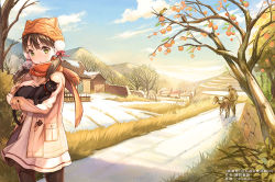 1boy 1girl animal animal_hat artist_name bare_tree bird black_legwear blush breath brown_hair cat_hat cloud coat day dress fence food fruit grass hat head_tilt house long_hair looking_at_viewer low_twintails moemi_tobi open_clothes open_coat original outdoors pantyhose parted_lips path pom_pom_(clothes) red_scarf road scarf sky snow standing tree twintails watermark wooden_fence