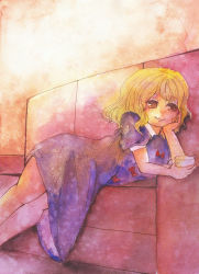 1girl blonde_hair blush chin_rest couch cup dress lying maribel_hearn purple_dress shiz_(#0077) short_hair smile solo touhou traditional_media watercolor_(medium) yellow_eyes