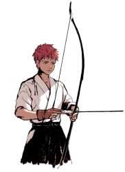 1boy archery bow_(weapon) emiya_shirou fate/stay_night fate_(series) j_(onjj) japanese_clothes kyuudou solo weapon