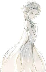 1girl elsa_(frozen) frozen_(disney) hand_on_own_chest highres light_smile monochrome panbukin sketch smile solo