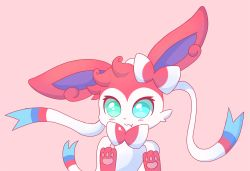:3 blush bow fairyjonke fang heterochromia paws pointy_ears pokemon ribbon simple_background sylveon