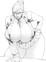 1girl breasts cleavage curvy gigantic_breasts glasses hand_on_hip kangoku_gakuen leaning_forward monochrome shiraki_meiko simple_background solo sweat thick_thighs thighs white_background wide_hips yazakc