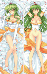 1girl armpits arms_up bare_legs bare_shoulders barefoot blush bottomless bound_wrists breasts c.c. cleavage code_geass collarbone creayus dakimakura elbow_gloves feet gloves green_hair hair_between_eyes hand_on_thigh hips legs long_hair looking_at_viewer lying navel nipples no_bra on_back panties panties_around_leg pussy shy tiara toes uncensored underwear veil wedding_dress white_gloves white_panties yellow_eyes