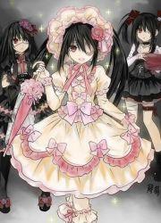 3girls black_hair boots date_a_live dress dual_persona eyepatch gloves gothic gothic_lolita lolita_fashion multiple_girls red_eyes ribbon tokisaki_kurumi twintails