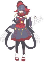 1girl black_legwear bonnet dress earrings full_body jewelry nail_polish open_mouth personification pokemon red_eyes red_nails red_shoes shikkoku_neko shoes solo standing weavile white_background