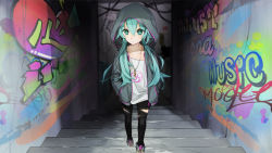 1girl aqua_eyes aqua_hair black_pants closed_mouth collarbone english graffiti hands_in_pockets hatsune_miku heart hood hooded_jacket jacket jewelry long_hair looking_away low_twintails marchen_noir necklace number open_clothes open_jacket pants shirt shoes solo stairs torn_clothes twintails unzipped very_long_hair vocaloid white_shirt