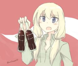 1girl blonde_hair blush bottle carla_j_luksic collarbone dress_shirt drink fang holding long_hair long_sleeves low_twintails makaze_hoihoi_chaahan_joutai open_mouth purple_eyes shirt solo strike_witches twintails twitter_username