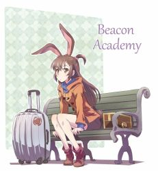 1girl animal_ears bench brown_eyes brown_hair bunny_ears bunny_girl commentary iesupa jacket little_witch_academia long_hair luggage rwby short_ponytail solo thighs velvet_scarlatina