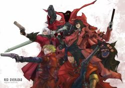 5boys alucard_(hellsing) artist_name black_hair blonde_hair blue_eyes cape chains coat crossover dante_(devil_may_cry) demon devil_may_cry final_fantasy green_eyes gun handgun heiispoon hellsing image_comics monster multiple_boys pistol red_cape red_coat red_eyes revolver skull spawn spawn_(spawn) superhero sword trait_connection trigun vash_the_stampede vincent_valentine weapon white_hair