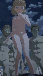 1girl berserk blue_eyes highres night nina_(berserk) nude standing stitched