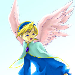 1girl blonde_hair breath_of_fire breath_of_fire_iv brooch dress hairband jewelry lowres nina_(breath_of_fire_iv) pink_wings short_hair single_earring smile solo upper_body wings yas