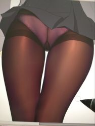 1girl black_dress close-up crotch_seam dress fate/grand_order fate_(series) lace lace-trimmed_panties obiwan panties panties_under_pantyhose pantyhose photo pink_panties shielder_(fate/grand_order) short_dress solo stylus thighband_pantyhose thighs underwear work_in_progress