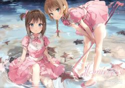 2girls absurdres anmi bangs bent_over between_legs bird blue_eyes blush braid breasts brown_hair collared_shirt dress eyebrows_visible_through_hair flamingo frills hair_ribbon hand_between_legs highres knee_up light_brown_hair long_hair looking_at_viewer medium_breasts multiple_girls no_socks ocean one_side_up original parted_lips pink_dress pink_ribbon puffy_short_sleeves puffy_sleeves ribbon ripples scan shirt short_hair_with_long_locks short_sleeves sitting standing starfish tress_ribbon twin_braids v_arms water_surface