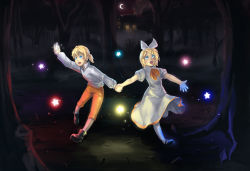 arm_up begging black_boots black_shoes blonde_hair blue_eyes boots bottle bow brother_and_sister brown_legwear cabin chrono_story_(vocaloid) crescent_moon dated doblemjwn dress evillious_nendaiki fog forest glowing hair_bow hair_ornament hairclip hand_holding highres hut kagamine_len kagamine_rin leaf looking_up moon nature night night_sky open_mouth orange_pants outstretched_arms pigeon-toed seven_deadly_sins shirt shoes short_hair siblings signature sky sparkle standing standing_on_one_leg star twins vocaloid white_dress white_legwear white_shirt