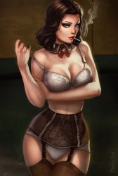 1girl alternate_costume artist_name bare_arms bare_shoulders bioshock bioshock_infinite black_hair blue_eyes bra breast_hold breasts brown_legwear cigarette cleavage closed_mouth collar collarbone contrapposto cowboy_shot curly_hair dandon_fuga detached_collar elizabeth_(bioshock_infinite) eyebrows eyeshadow frills garter_belt garter_straps girdle hand_on_own_arm highres holding_arm large_breasts legs lingerie lips lipstick looking_at_viewer makeup mouth_hold nail_polish nose off_shoulder older panties pulled_by_self red_lips red_nails seductive_smile smile smoking solo standing strap_pull thighhighs thighs underwear underwear_only watermark web_address white_bra white_panties