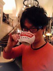 asian black_hair glasses hideo_kojima konami photo solo teacup