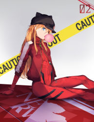 1girl animal_ears animal_hat arm_support badge bangs black_hat bodysuit bracer breasts bubble_blowing bubblegum button_badge cabbie_hat caution_tape copybird emblem english evangelion:_3.0_you_can_(not)_redo eyepatch fake_animal_ears from_side gloves gradient gradient_background grey_background hair_between_eyes hat hat_ornament highres jacket long_hair long_sleeves looking_at_viewer neon_genesis_evangelion nerv number open_clothes open_jacket orange_hair pilot_suit plugsuit rebuild_of_evangelion red_jacket revision sidelocks single_vertical_stripe sitting skinny small_breasts solo soryu_asuka_langley soryu_asuka_langley tape track_jacket turtleneck