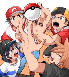 4boys backwards_hat bangs baseball_cap black_hair black_shirt black_shorts brown_hair capri_pants clothes_writing denim gold_(pokemon) grey_eyes hat jeans male_focus male_protagonist_(pokemon_sm) multiple_boys ookido_green ookido_green_(sm) otyaume_1910 pants poke_ball pokemon pokemon_(game) pokemon_hgss pokemon_sm raglan_sleeves reaching red_(pokemon) red_(pokemon)_(sm) shirt short_hair short_sleeves shorts spiked_hair striped striped_shirt sunglasses sunglasses_on_head swept_bangs t-shirt