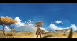 1girl aie blurry bow bowtie cloud depth_of_field elbow_gloves eyes_closed fang gloves grass hat hat_feather highres holding holding_hat kemono_friends landscape letterboxed mountain open_mouth print_legwear savannah serval_(kemono_friends) serval_print serval_tail smile solo spoilers tail tears thighhighs tree