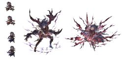 1boy armor bandage belt black_hair boots facial_mark granblue_fantasy long_hair open_mouth scarf solo standing sword teeth tongue torn_clothes torn_scarf weapon white_background zehek_(granblue_fantasy)
