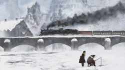 1boy 1girl blonde_hair bridge dress fishing fishing_line fishing_rod hat ice ice_fishing jacket original pipe scenery smoke smoking snow steeple town train watching winter winter_clothes you_(shimizu)