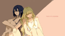2girls bare_shoulders black_eyes black_hair blonde_hair breasts brown_background chloe_valens cleavage copyright_name dress eyes_closed lips long_hair multiple_girls open_mouth shirley_fennes short_hair sleeping tales_of_(series) tales_of_legendia