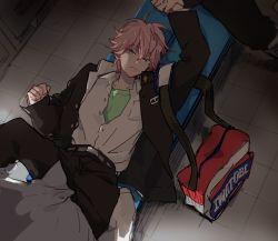 2boys bag belt edanaka gakuran high_speed! looking_at_viewer lying male_focus multiple_boys pink_hair shigino_kisumi short_hair undressing