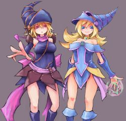 2girls bare_shoulders blonde_hair blue_eyes breasts cowboy_shot dark_magician_girl duel_monster eyebrows gagaga_girl hair_between_eyes hat hexagram highres large_breasts looking_at_viewer multiple_girls open_mouth pentagram red_eyes rokuta66 skirt smile wizard_hat yu-gi-oh! yuu-gi-ou_duel_monsters yuu-gi-ou_zexal