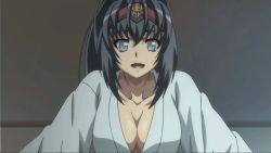 1girl animated animated_gif blue_hair breasts cleavage female hyakka_ryouran_samurai_girls large_breasts long_hair looking_at_viewer screencap smile solo uesugi_kagekatsu_(hyakka_ryouran)