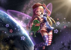 1girl american_flag_dress american_flag_legwear blonde_hair boy's_club breasts city_lights clownpiece dress earth eyebrows eyebrows_visible_through_hair fairy_wings floating frog hat highres index_finger_raised light_rays lips long_hair looking_at_viewer make_america_great_again medium_breasts neck_ruff open_mouth pepe_the_frog pink_eyes planet red_hat short_dress short_sleeves smile solo space star star_(sky) star_print striped striped_dress striped_legwear sunbeam sunlight thighhighs touhou wings