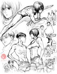 abs armin_arlert eren_yeager levi_(shingeki_no_kyojin) mikasa_ackerman military military_uniform monochrome ricken shingeki_no_kyojin shirtless sketch sports_bra stretch uniform