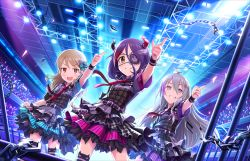 3girls ahoge bangs belt blonde_hair blush bow braid brown_eyes chains checkered eyepatch fang gloves grey_eyes grin hair_bow hair_ornament hairclip hayasaka_mirei hoodie horn_ornament hoshi_shouko hoshii_shouko idolmaster idolmaster_cinderella_girls idolmaster_cinderella_girls_starlight_stage jacket long_hair looking_at_viewer microphone morikubo_nono multicolored_hair multiple_girls necktie nervous_smile official_art open_mouth pointing purple_hair short_hair silver_hair singing single_braid skirt smile stage thighhighs violet_eyes