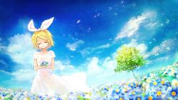 1girl blonde_hair blue_sky blush cloud commentary_request dress eyes_closed field flower flower_field hair_ornament hair_ribbon hairclip highres kagamine_rin nature outdoors ribbon short_hair sky smile solo tree vocaloid white_dress yuranpo