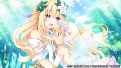 2girls blonde_hair blue_eyes blush bouquet_(choujigen_game_neptune) breast_grab breast_smother breasts choujigen_game_neptune cleavage dress fairy_wings female forest grabbing green_eyes head_between_breasts heart heart-shaped_pupils hug large_breasts long_hair multiple_girls nature neptune_(series) official_art open_mouth smile symbol-shaped_pupils tsunako vert very_long_hair wings yuri