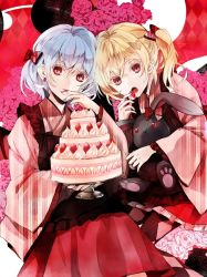 2girls alternate_costume apron banned_artist bat_wings blonde_hair blue_hair cake earrings flandre_scarlet flower food fruit hair_ribbon hino_mamori japanese_clothes jewelry kimono long_hair multiple_girls open_mouth pink_rose red_eyes remilia_scarlet ribbon rose siblings side_ponytail sisters strawberry stuffed_animal stuffed_bunny stuffed_toy touhou wide_sleeves wings