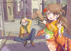 1boy 1girl :d ahoge blush brown_eyes brown_hair earmuffs earrings glasses hair_ornament hairclip intersection jacket japanese_clothes jewelry kimono long_hair looking_at_viewer musical_note obi open_mouth paddle road sash semi-rimless_glasses short_ponytail sitting smile snow stairs street sweater tetsujin_momoko traffic_cone under-rim_glasses v
