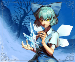 1girl bare_tree blue_hair bow cirno frame hair_bow higashiyama_hayato hill ice ice_wings short_hair short_sleeves slit_pupils solo touhou tree wings winter yellow_eyes
