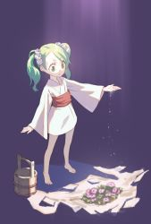 1girl barefoot bucket dress flower full_body green_eyes green_hair hair_bobbles hair_ornament japanese_clothes kimono kisume long_sleeves looking_down outstretched_arm ribbon sash solo touhou twintails white_dress wide_sleeves yamamomo_(plank) yukata