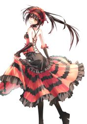 1girl bare_shoulders boots choker clock_eyes date_a_live detached_sleeves dress gothic_lolita lolita_fashion lolita_hairband tokisaki_kurumi twintails