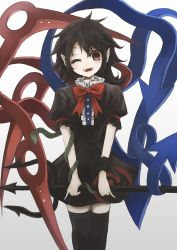 1girl absurdres asymmetrical_wings black_dress black_hair black_legwear bow dress highres houjuu_nue one_eye_closed open_mouth pointy_ears polearm red_bow red_eyes short_hair smile snake solo standing teeth thighhighs thkani touhou trident weapon wings wrist_cuffs zettai_ryouiki