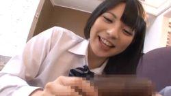 1boy 1girl animated animated_gif bowtie censored dark_skin handjob interracial japanese penis photo uehara_ai