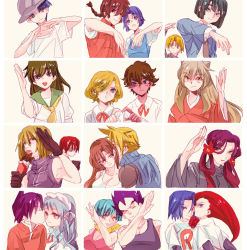 6+boys 6+girls black_hair blonde_hair blue_hair brown_hair bulma cheek_kiss cloud_strife couple crossover death_note dragon_ball final_fantasy final_fantasy_vii gilbert_cocteau hair_kiss hat heart heart_hands heart_hands_duo heart_trace hetero hi_izuru_tokoro_no_tenshi higurashi_kagome hikaru_no_go inuyasha inuyasha_(character) iron_maiden_jeanne kaze_to_ki_no_uta kiss kobayashi_rin kojirou_(pokemon) long_hair makochan matt mello multiple_boys multiple_girls musashi_(pokemon) please_save_my_earth pokemon pose purple_hair ranma_1/2 saotome_ranma school_uniform serge_battour shaman_king shindou_hikaru short_hair shoutoku_taishi_(hi_izuru_tokoro_no_tenshi) smile tao_ren tendou_akane tifa_lockhart touya_akira vegeta yaoi