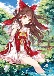 1girl :d alternate_costume animal arms_at_sides bare_legs bare_shoulders barefoot blue_sky blush bow bridge brown_hair bunny butterfly collarbone day detached_sleeves dress eyebrows eyebrows_visible_through_hair field floating_hair flower flower_field frilled_bow frills grass hair_bow hair_tubes hakurei_reimu insect long_hair long_sleeves motiduki-siina nature open_mouth outdoors plant ponytail red_bow river shore sidelocks sitting sky smile soaking_feet solo touhou tree very_long_hair water white_dress wide_sleeves wind yellow_bow yellow_eyes