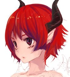 1girl close-up demon_girl face horns lips original pointy_ears purple_eyes red_hair short_hair simple_background solo teroru