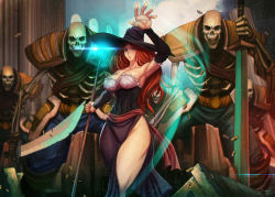 1girl breasts brown_hair dragon's_crown large_breasts long_hair skeletons sorceress_(dragon's_crown) staff sword weapon witch_hat